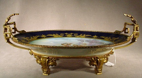 105: Sevres ormolu mounted hand painted tray