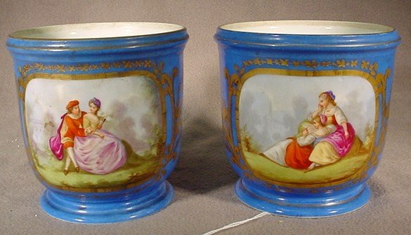 107: Pair of French Sevres blue porcelain urns