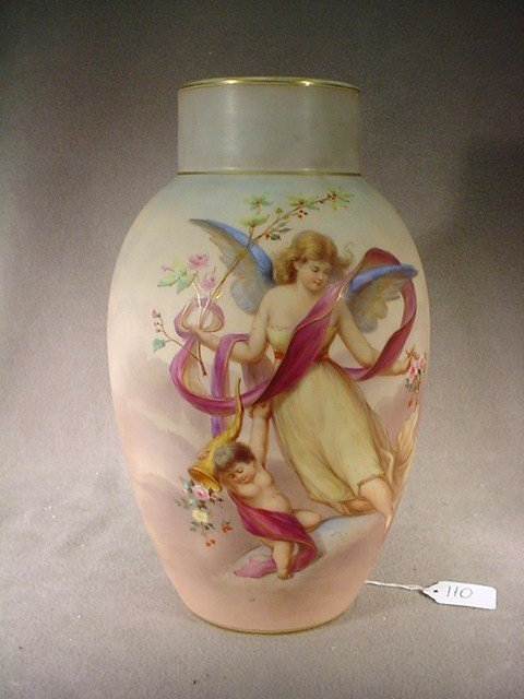 110: French opaline glass vase signed Ahne