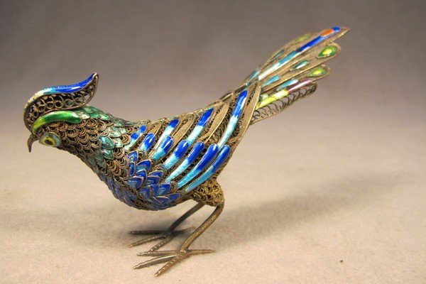 108: Chinese silver filigree enamel bird - 4