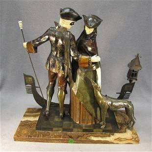 236: Bronze & Ivory statue, A. Gilbert