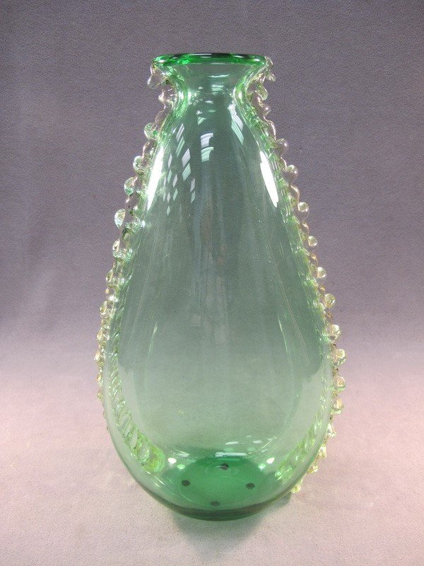 1: Old Italian green glass vase