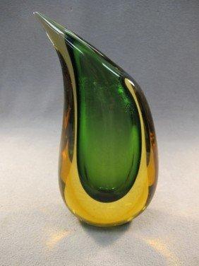 8: Italian murano green vase
