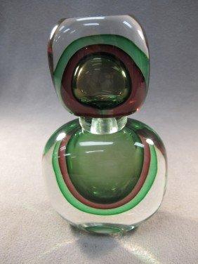 9: Italian murano green bottle