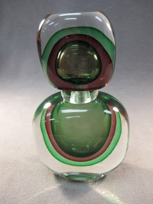 9: Italian murano green bottle
