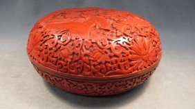 16: Chinese carved cinnabar lacquer box