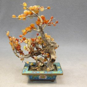23: Chinese hardstone & cloisonné tree