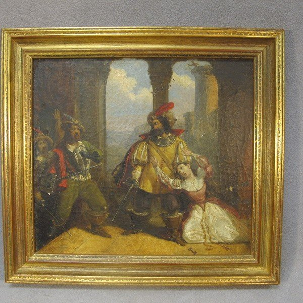 102: Antique oil group painting