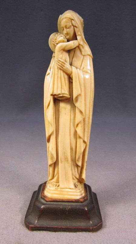 111: European carved ivory Madonna