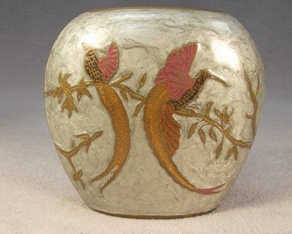 115: Bronze enamel birds vase