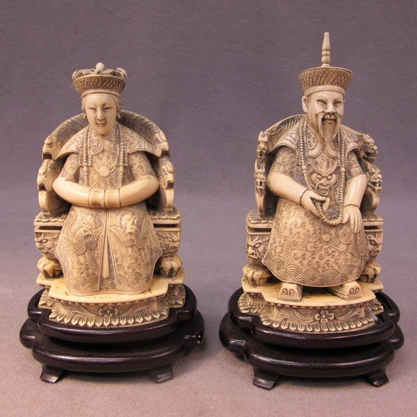 117: Chinese pair of carved ivory figures