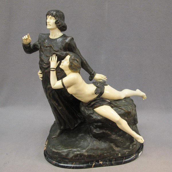 303: Bronze & Ivory statue, L. CHALON