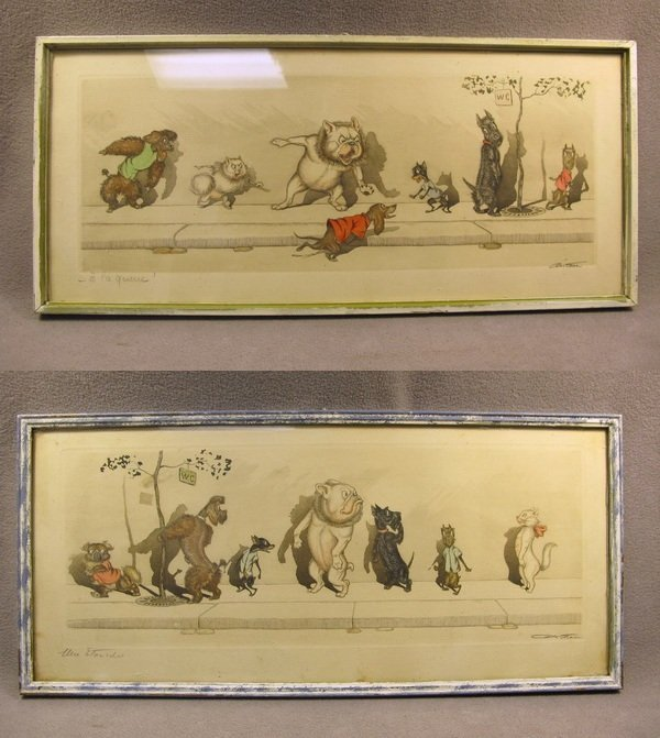 5: Pair of French comical engravings, O'Klein