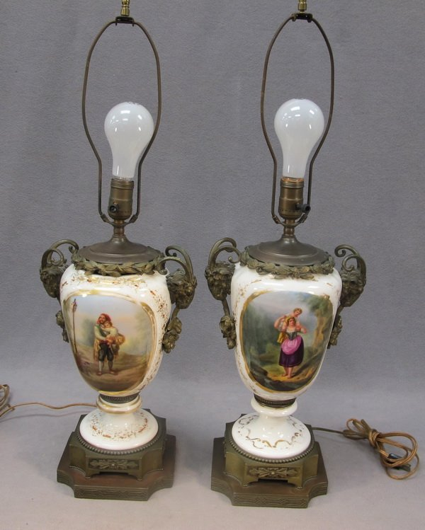 9: French pair of porcelain & bronze table lamps