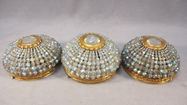 17: French set of 3 bronze & glass ceiling lights