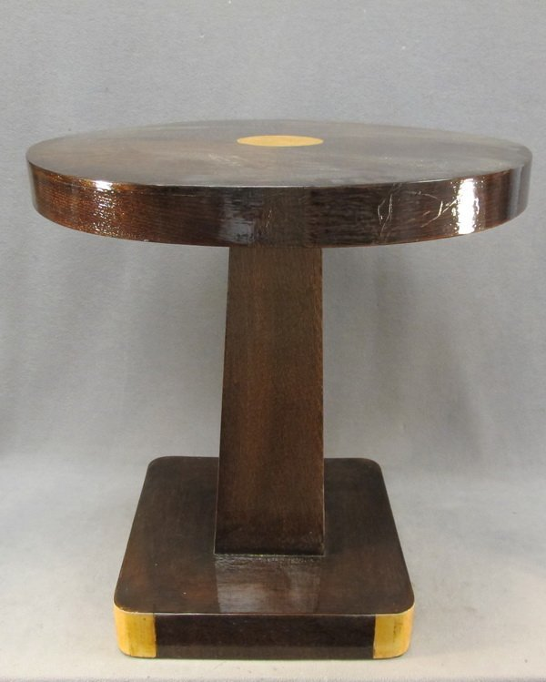 19: French Art Deco oak round table