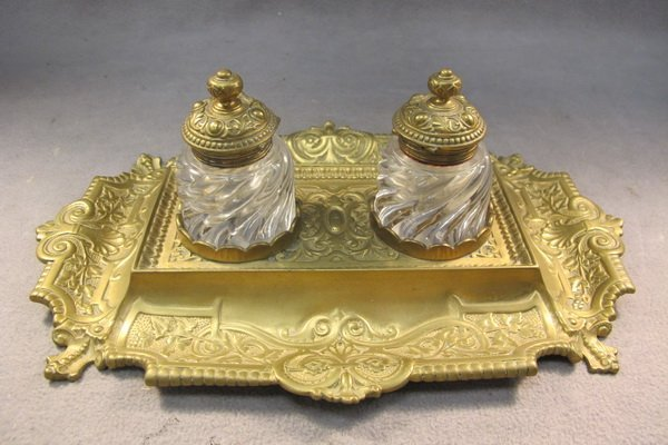 26: French bronze & glass inkwell