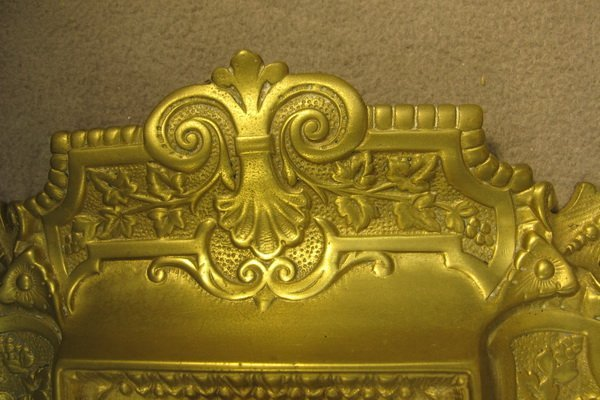 26: French bronze & glass inkwell - 4
