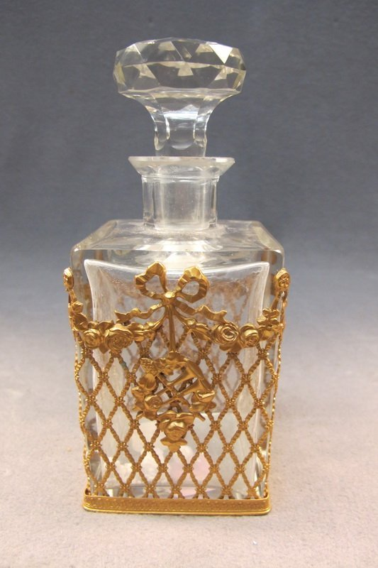 37: Baccarat style bronze & glass perfurm bottle