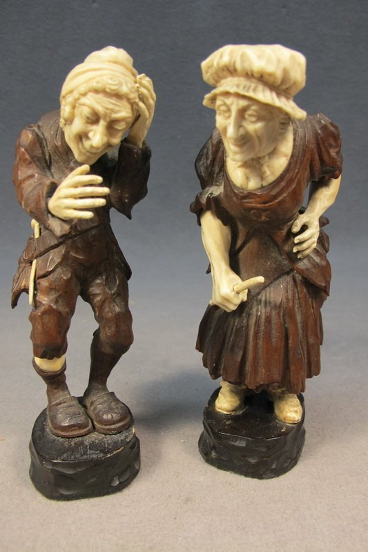 49: Pair of wood & ivory statues