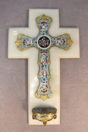 Bronze Champleve & Onyx Cross