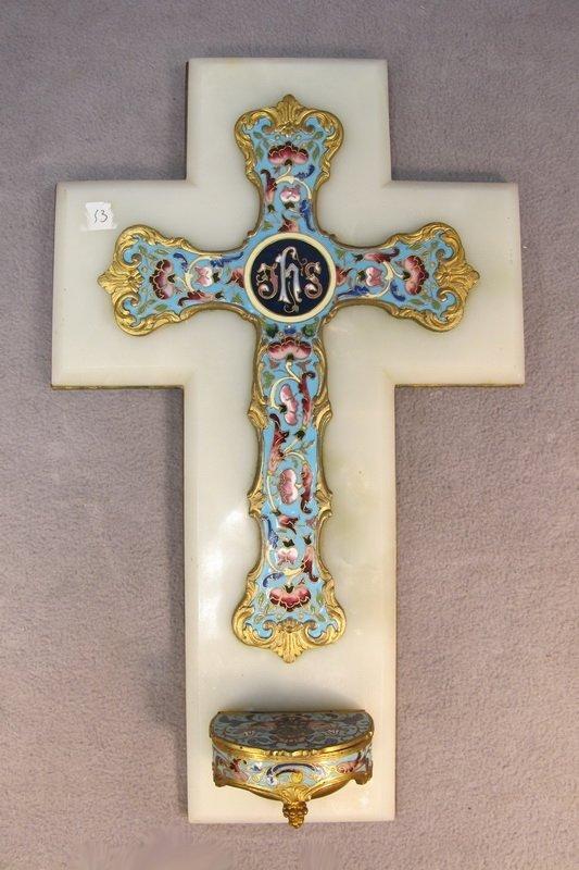 51: Bronze champleve & onyx cross