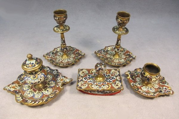 53: Bronze champleve desk set of 5 pcs
