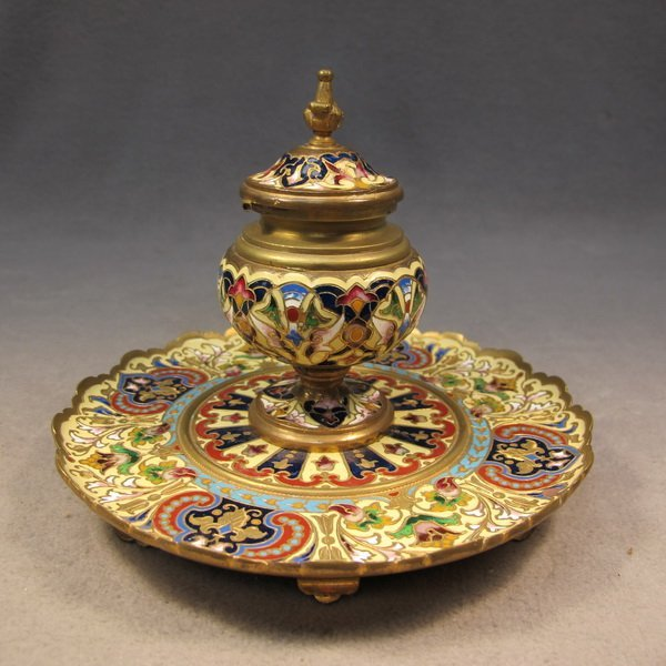 54: French bronze champleve inkwell