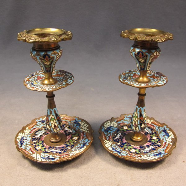 58: French pair of bronze champleve candlesticks