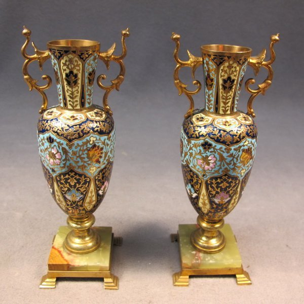 59: French pair of bronze champleve vases