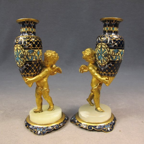 60: French pair of bronze champleve vases