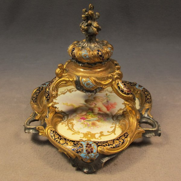61: French bronze champleve inkwell