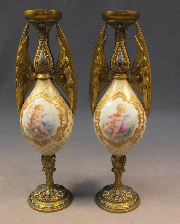 62: French pair of bronze champleve vases
