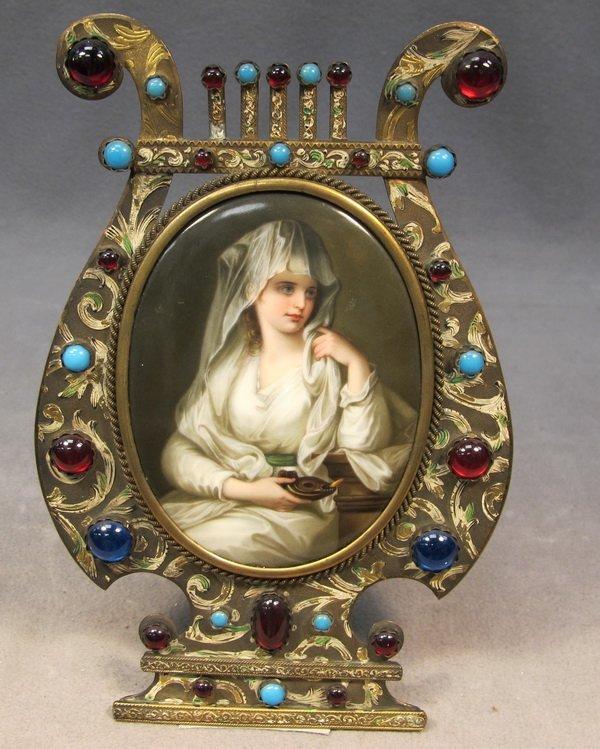 67: French bronze & porcelain plaque