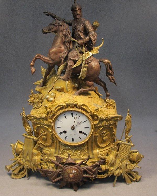 68: French Orientalist  bronze mantle clock