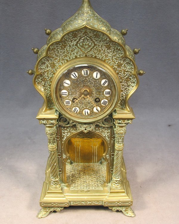 69: French Gothic bronze mantle clock