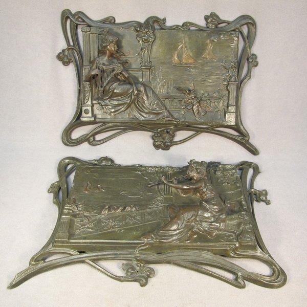 72: Art Nouveau pair of spelter plaques