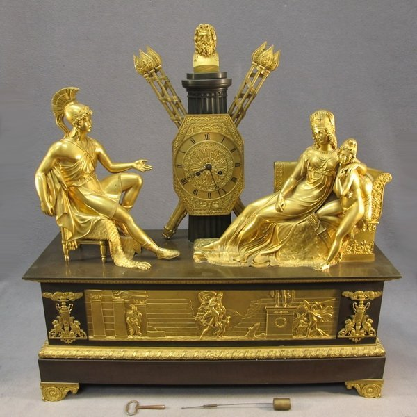 90: French empire gilt bronze clock, Honore Pons 1823