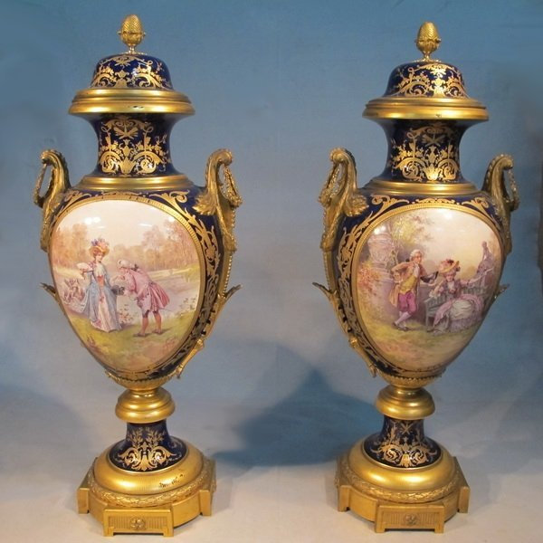 180: French Sevres pair of porcelain urns