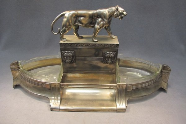 245: German WMF silver-plate panther centerpiece