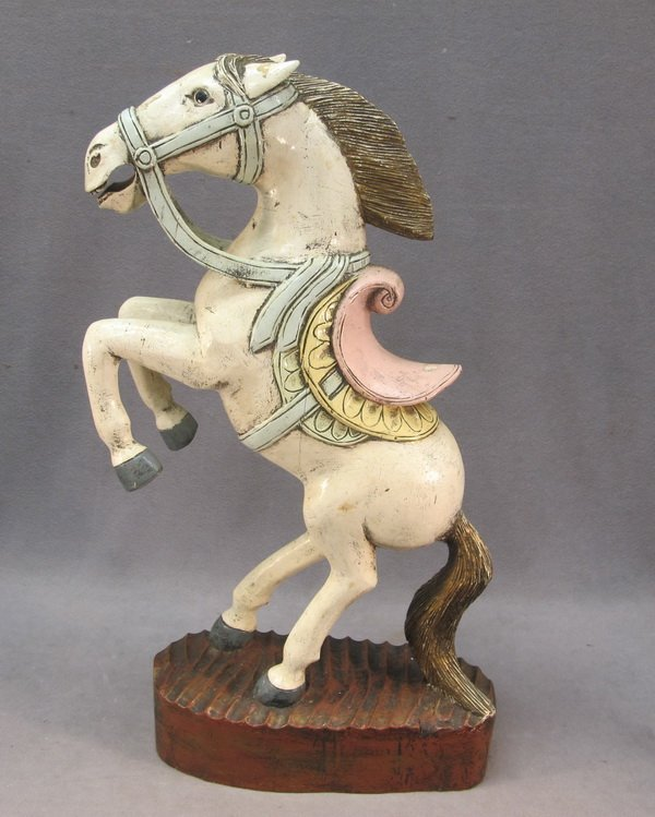 1: Horse polychrome wood statue