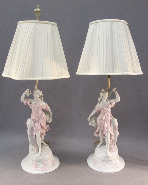 4: Old pair of porcelain lamps