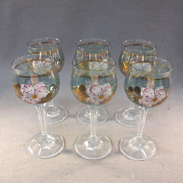 6: Czechoslovakian set of 6 glass cups