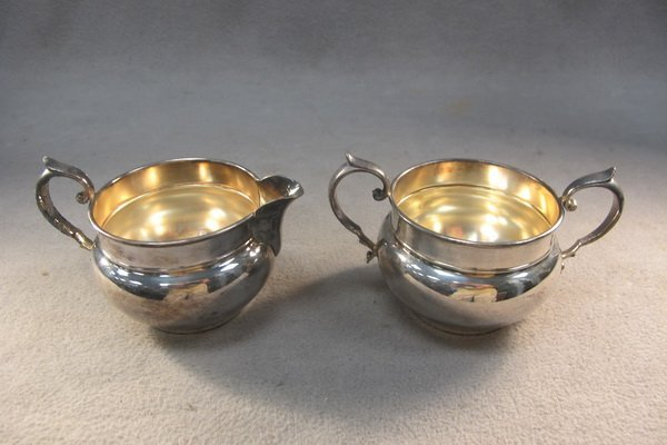 9: Gorham silver-plate cream & sugar pot