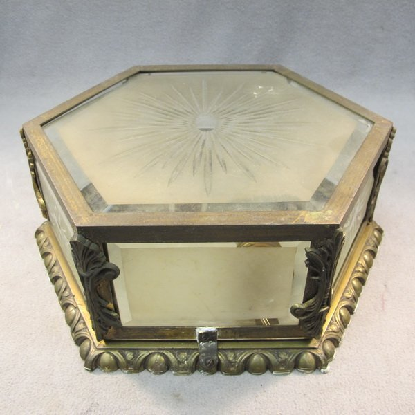 11: Old French bronze & glass ceiling light