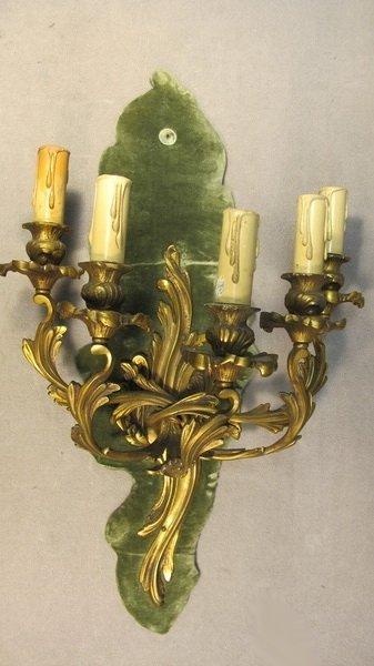 17: French Louis XV bronze & velvet sconce
