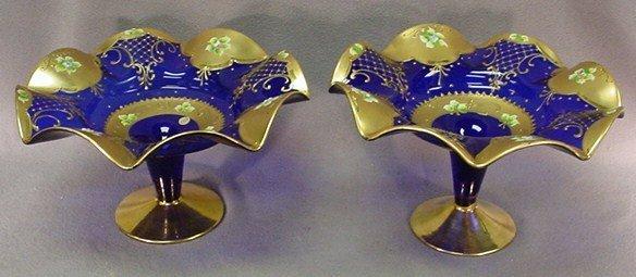 20: Czechoslovakian pair of glass fruit stands