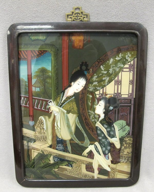 54: Old Japanese reverse glass painting