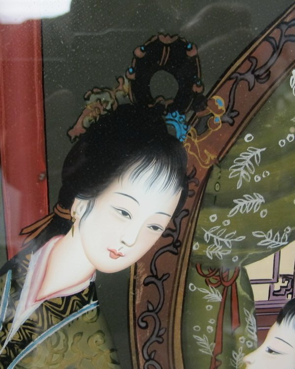 54: Old Japanese reverse glass painting - 2
