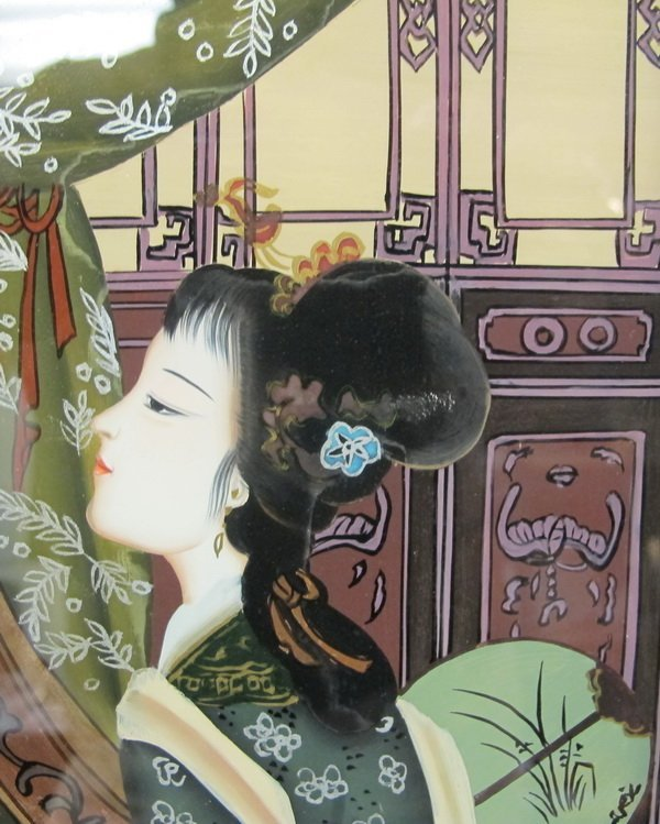 54: Old Japanese reverse glass painting - 3